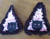 "2 2.5"" Crochet KITTY EARS yarn & crochet pompoms with custom kitty lasercut acrylic buttons"