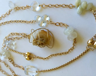 14K Solid Gold, Multi Gemstone Necklace, 2000 year old Druzy Pendant, Wire Wrapped, Moonstones, Rock Crystal, White Sapphire