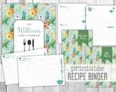 Printable Recipe Binder - Family Recipe Binder Cookbook - Tropical - Bridal Shower Gift - Wedding Gift