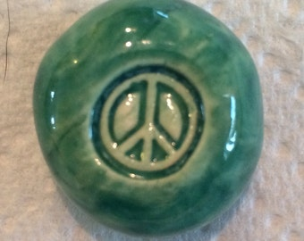 PEACE SIGN - Pocket Stone - Ceramic - AQUAMARINE Art Glaze - Inspirational Art Piece