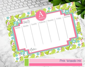 Monogrammed Desk Calendar Personalized Weekly Calendar Custom Meal Planner Personalized Teacher Gift