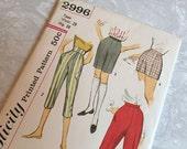 Simplicity Pattern 2996 1960s Teen Pants 4 Lengths Waist 28 Hip 38 Uncut