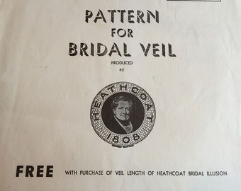 Pattern for Bridal Veil 1956 Heathcoat and Company Fingertip Veil Ballerina Veil
