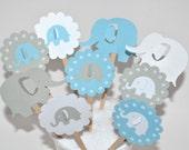 12 Blue Elephant Cupcake Toppers/Blue Elephant Baby Shower/Elephant Birthday Party/ Elephant Centerpiece / Elephant Cupcake Toppers