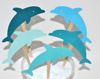 12 Blue Dolphin Cake Toppers Dolphin Birthday Invitation