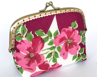 Change/Coin Purse made from a vintage handkerchief with brass kiss lock frame