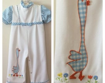 70s Blue and White Gingham Onesie with Goose Applique, Baby Girls Size 6 to 12 months
