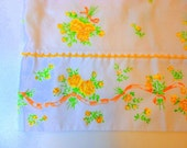 Vintage Floral Pillowcase 1960s ONE Mismatched Linens Standard size Cottage shabby Yellow Peach