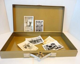 Vintage Metal Box Slide box Industrial decor Jewelry Organizer 1970s Storage Tan