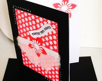 Hand made cards: You are the best - black and neon coral - large flower card - pearls - hand stamped - Wcards