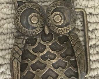 Brass Tone Owl Belt Buckle Trendy Hipster Fashion