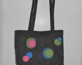 Dark Grey Felted Wool Polka Dot Handbag Upcycled