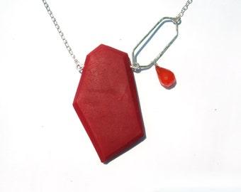 Bold geometric necklace, modern red pendant, genuine carnelian necklace, orange gemstone necklace, sterling silver pendant, red pendant