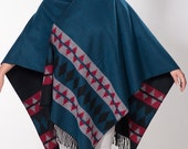 Blue Red Gray Black Double sided Winter Poncho. Native poncho Ethnic Women outerwear Blanket shawl wrap. Christmas Gift.