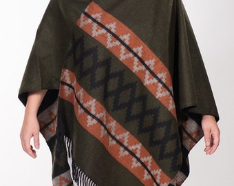 On Sale. Green and Orange Double sided Winter Poncho. Native poncho Ethnic Women outerwear Blanket shawl wrap. Christmas Gift.