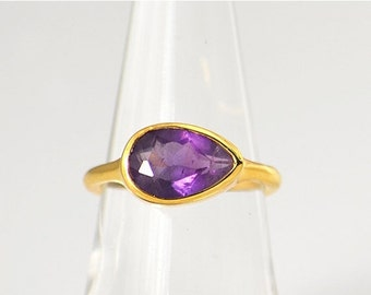40%off - Purple Amethyst Ring - February Birthstone Ring - Gemstone Ring - Stacking Ring - Gold Plated - tear drop Ring, gift for her, stack