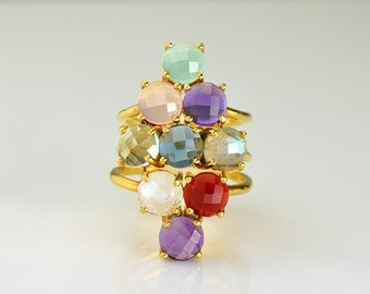 Mothers ring stackable - grandmother ring, nine stone ring, mothers rings birthstones, mothers day gift for grandma, multi stone ring