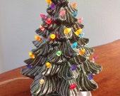 Vintage Ceramic Christmas Tree Lamp, Colored Xmas Lights