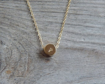 Dot gold necklace, Tiny gold necklace, Dainty dot initial necklace, Small necklace, Dainty jewelry