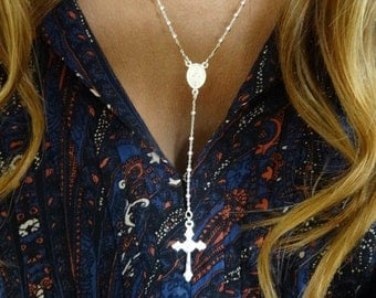 Small beads rosary. Sterling silver.
