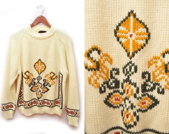 70s Cream Patterned Acrylic Sweater Neutral Colors Men's Large Oversized