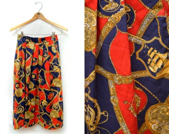 80s Patterned Pleated Red Mid Length Gold Medallion Nautical Skirt Women's 6 Small