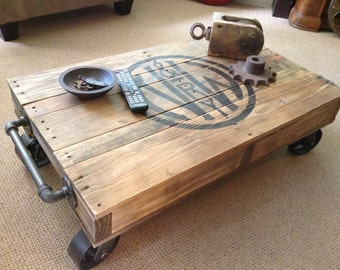 Great Industrial Railroad Coffee Table Cart
