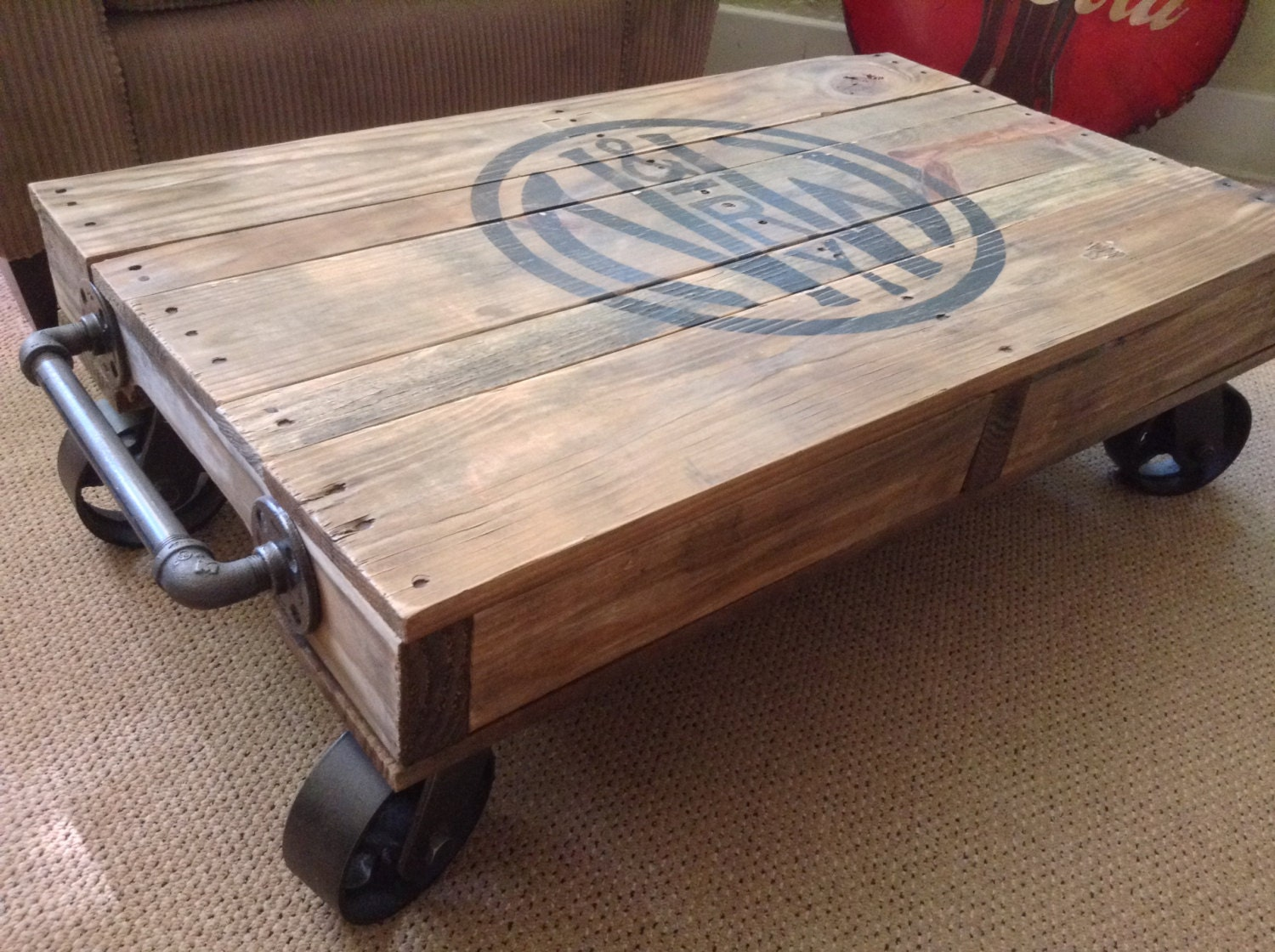 Industrial Railroad Coffee Table Cart. Gallery Photo Gallery Photo Gallery  Photo ...