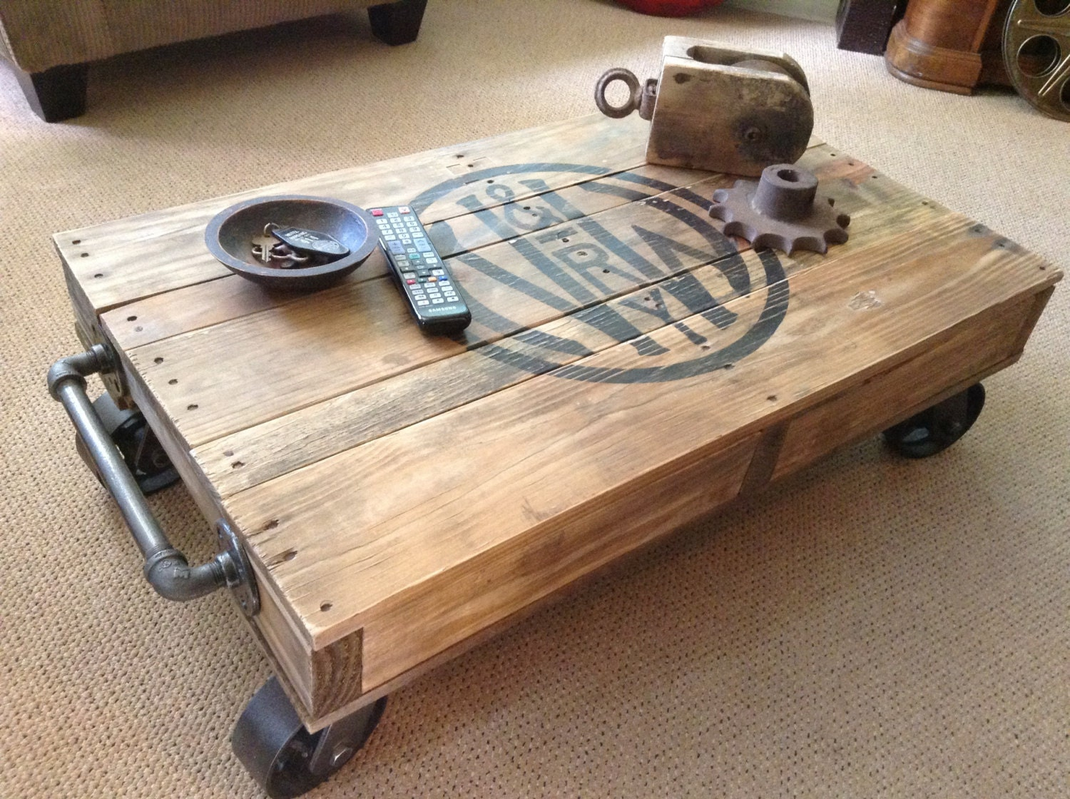 industrial railroad coffee table cart. Black Bedroom Furniture Sets. Home Design Ideas