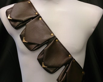 4 Pouch Bandolier / Belt, Faux Leather with Metal Fittings LARP Steampunk