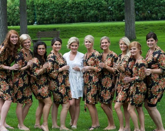 Bridesmaid Robes - Set of 10 Kimono Crossover patterned Robe, Robe, Bridesmaids gift, getting ready robes, Bridal shower favors, baby shower