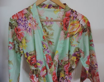 Code :A-20 Mint Floral Kimono Crossover patterned Robe Wrap - Bridesmaids gift, getting ready robes, Bridal shower favors, baby shower