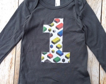 Ready to Ship- one for 1st boys Birthday 12/18 month infant lap tee asphalt builing stackable bricks