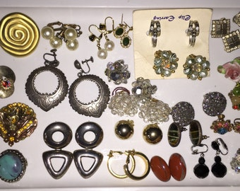 Jewelry Job Lot Wholesale Vintage Earrings Collection 26 Pairs Earrings Designer Earrings Destash Jewelry Junk Drawer Collage