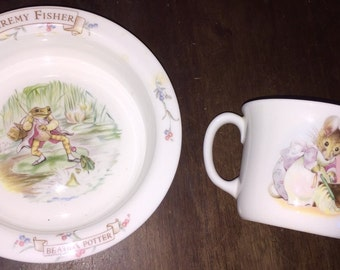 Vintage Beatrix Potter Bowl & Cup China Mr Jeremy Fisher Cereal Bowl and HUNCA MUNCA Double Handled Baby Cup  1986 Royal Albert Bone China
