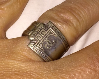 Antique Spoon Ring Art Deco Silver Spoon Ring Vintage Antique Silver Plated Size 6