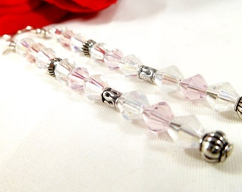 Elegant Pink Swarovski Crystal Long Beaded Earrings with Tibetan Silver Accents ~  Guide 2016 Wedding Jewelry ~  Trending Womens Jewelry