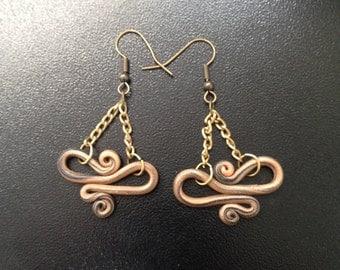 Peach/Black swirled polymer clay earrings