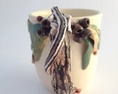 Lizard & Ladybug Mug/Cup with Tree Branch Handle. Handmade Sculpted Pottery Ceramics.