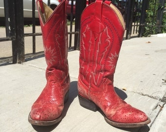Red Leather Cowboy boots size 5 narrow ladies Rustic Grunge Western Cazador Brand