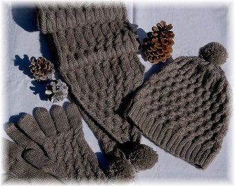 "Scarf, Hat & Gloves Set ""Campania Island"", hand knit with unique cable design in super soft Qiviut-Merino-Silk Blend - READY TO SHIP"