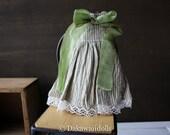 Blythe Doll Outfit /  1/6 doll size / vintage style ribbon/ sleeveless dress / Linen / cotton/ green stripe