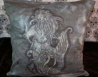 REDUCED 10.00!! Black Batiked Mermaid Pillow Cover