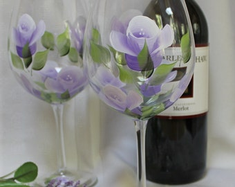 Hand Painted Wine Glasses (Set of 2) - Lavender and White Roses on Clear Goblet