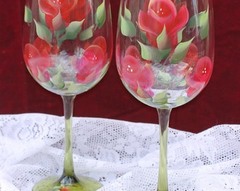 Hand Painted Wine Glasses (Set of 2) - Red Roses with Green Stems