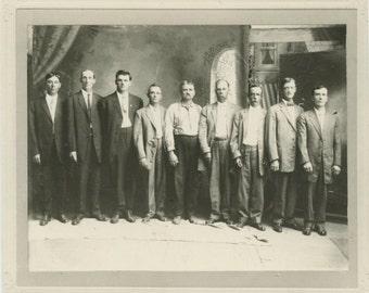 Nine Men in Informal Studio Portrait, c1910s Vintage Photo [510419]