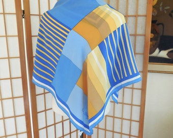 Vintage 70s Christian Dior Silk Scarf in Blue and Yellow Patchwork Stripes