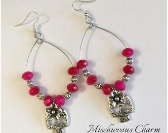 Day of the Dead Dia de Los Muertos Frida Inspired Bead and Sugar Skull Bead Dangle Earrings Jewelry