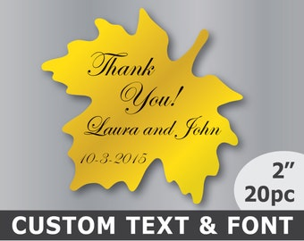 Custom Thank you stickers Personalized wedding labels Envelope seals Maple leaf stickers Gold wedding stickers Autumn wedding