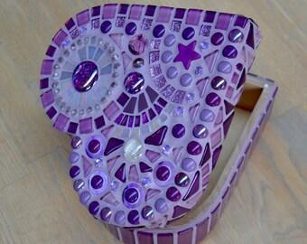 Purple glass mosaic heart shaped jewelry box
